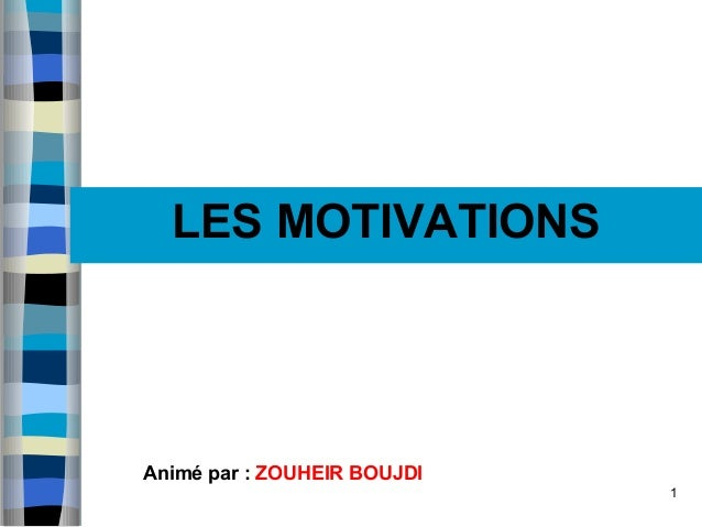 1 Les MOTIVATIONSLES MOTIVATIONS Animé par : ZOUHEIR BOUJDI