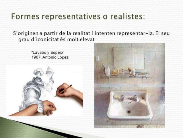 Formes representatives o realistes:   S'originen a partir de Ia realitat i intenten representar-Ia.  EI seu grau d'iconici...