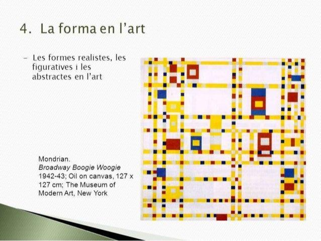 4. La forma en ¡'art  — Les formes realistes,  les figuratives i les abstractes en   'art  Mondrian.   Broadway Boogie Woo...
