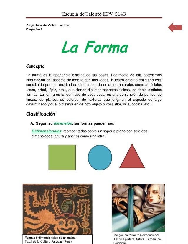 Escuela de Talento IEPV 5143Asignatura de Artes Plásticas                                                                 ...