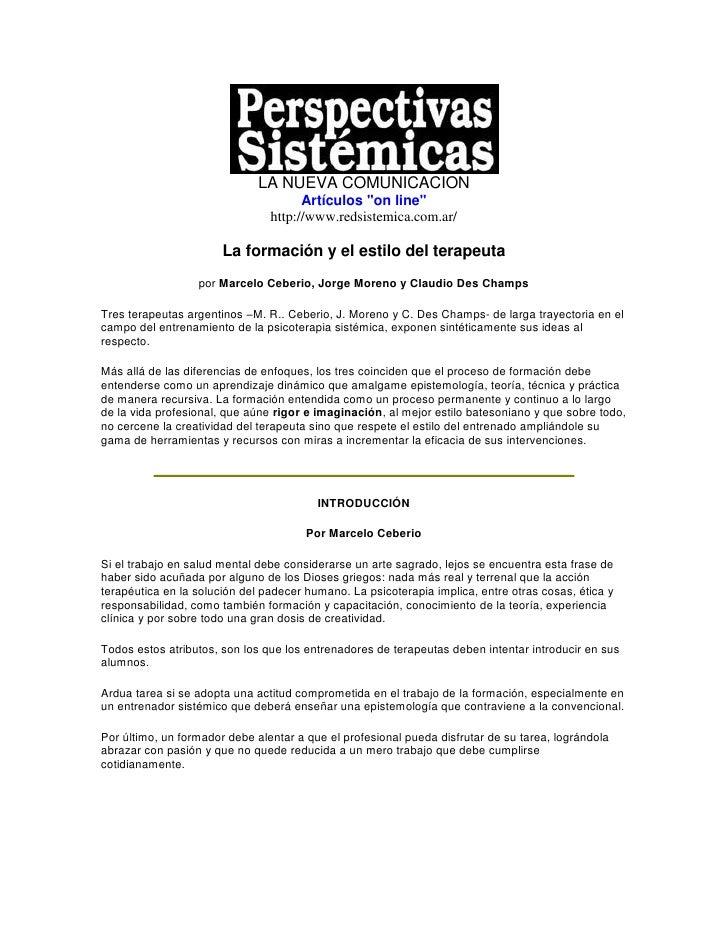 """LA NUEVA COMUNICACION                                       Artículos """"on line""""                                 http://www..."""