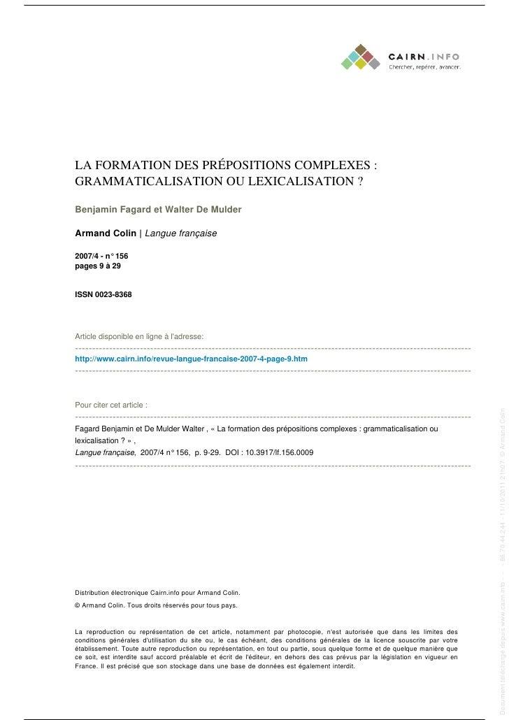 LA FORMATION DES PRÉPOSITIONS COMPLEXES :                                                                                 ...