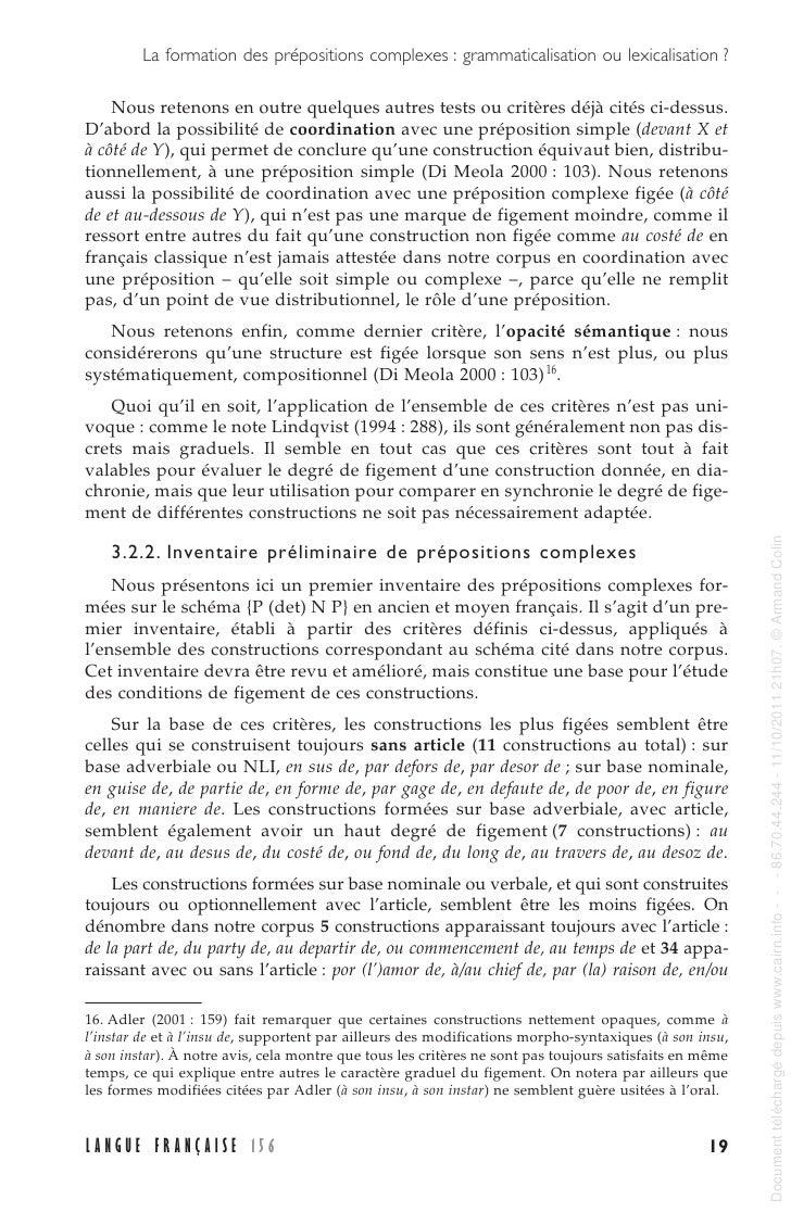 la formation des pr u00e9positions complexes   grammaticalisation ou lexic u2026