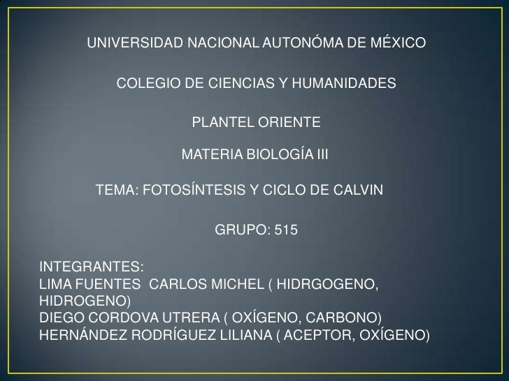 UNIVERSIDAD NACIONAL AUTONÓMA DE MÉXICO         COLEGIO DE CIENCIAS Y HUMANIDADES                  PLANTEL ORIENTE        ...