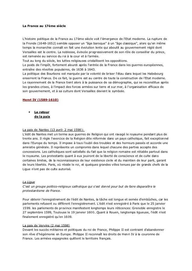 La France au 17ème siècleLhistoire politique de la France au 17ème siècle voit lémergence de lEtat moderne. La rupture del...