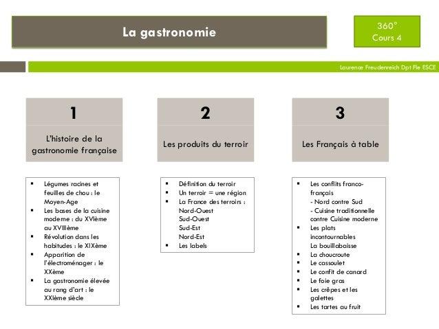 La gastronomie Laurence Freudenreich Dpt Fle ESCE L'histoire de la gastronomie française 1 Les produits du terroir 2 Les F...