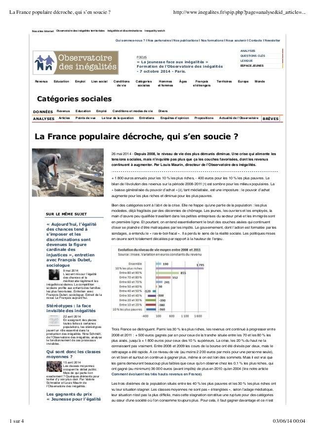 Nos sites Internet Observatoire des inégalités territoriales Inégalités et discriminations Inequality watch Qui sommes-nou...