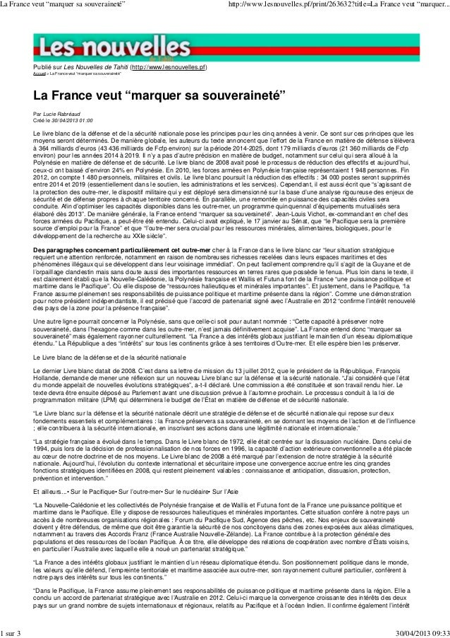 """Publié sur Les Nouvelles de Tahiti (http://www.lesnouvelles.pf)Accueil > La France veut """"marquer sa souveraineté""""La France..."""