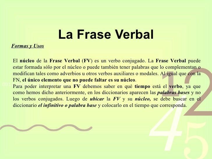 La Frase Verbal Formas y Usos El  núcleo  de la  Frase Verbal  ( FV ) es un verbo conjugado. La  Frase Verbal  puede estar...