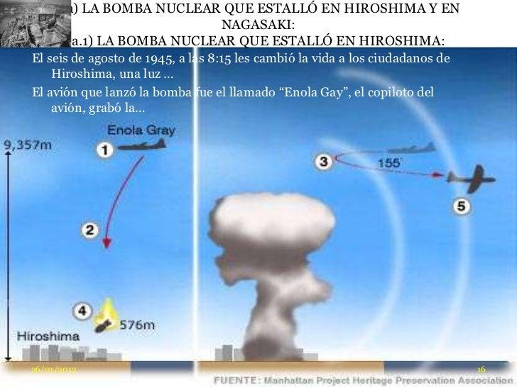 a) LA BOMBA NUCLEAR QUE ESTALLÓ EN HIROSHIMA Y EN                           NAGASAKI:        a.1) LA BOMBA NUCLEAR QUE EST...