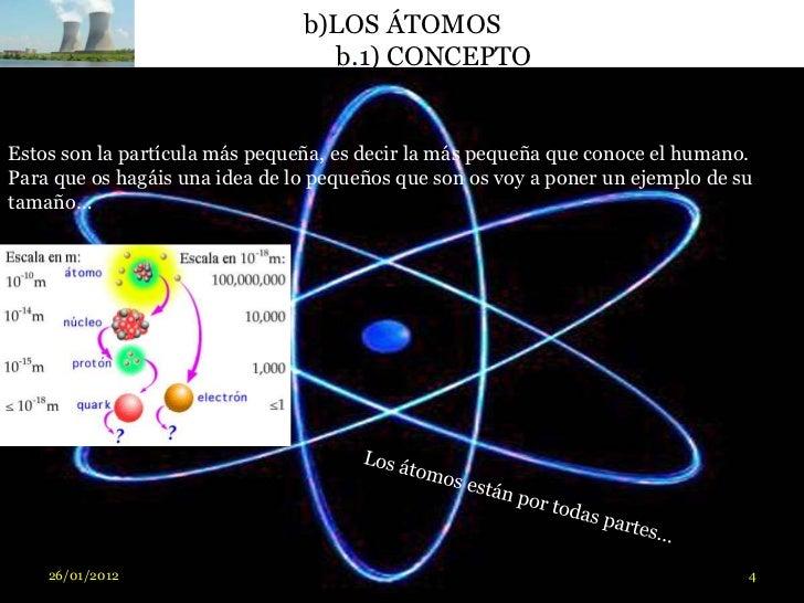 b)LOS ÁTOMOS                                  b.1) CONCEPTOEstos son la partícula más pequeña, es decir la más pequeña que...