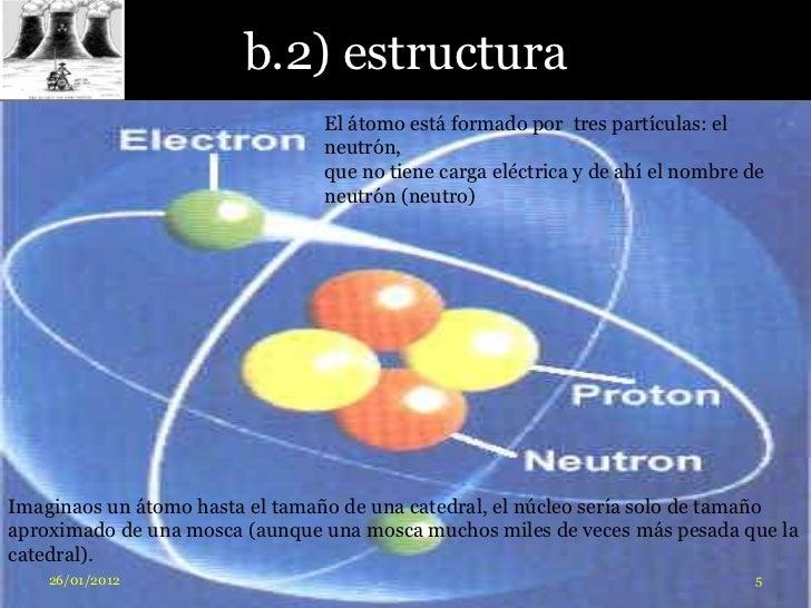 b.2) estructura                                El átomo está formado por tres partículas: el                              ...