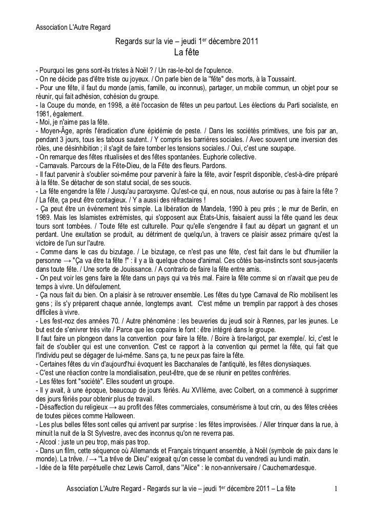 Association LAutre Regard                               Regards sur la vie – jeudi 1er décembre 2011                      ...