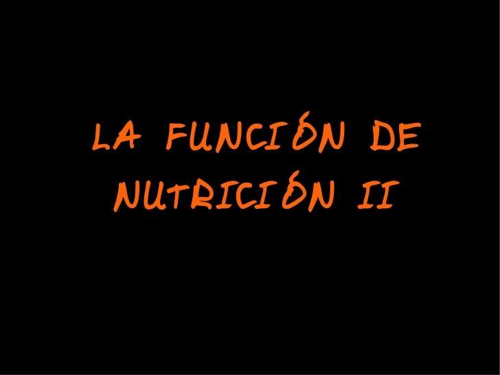 LA FUNCIÓN DE NUTRICIÓN II