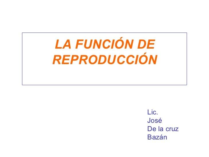 LA FUNCIÓN DE REPRODUCCIÓN Lic.  José De la cruz Bazán