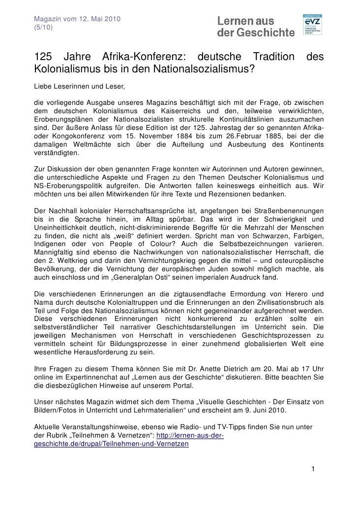 Magazin vom 12. Mai 2010 (5/10)    125 Jahre Afrika-Konferenz: deutsche Tradition                                     des ...