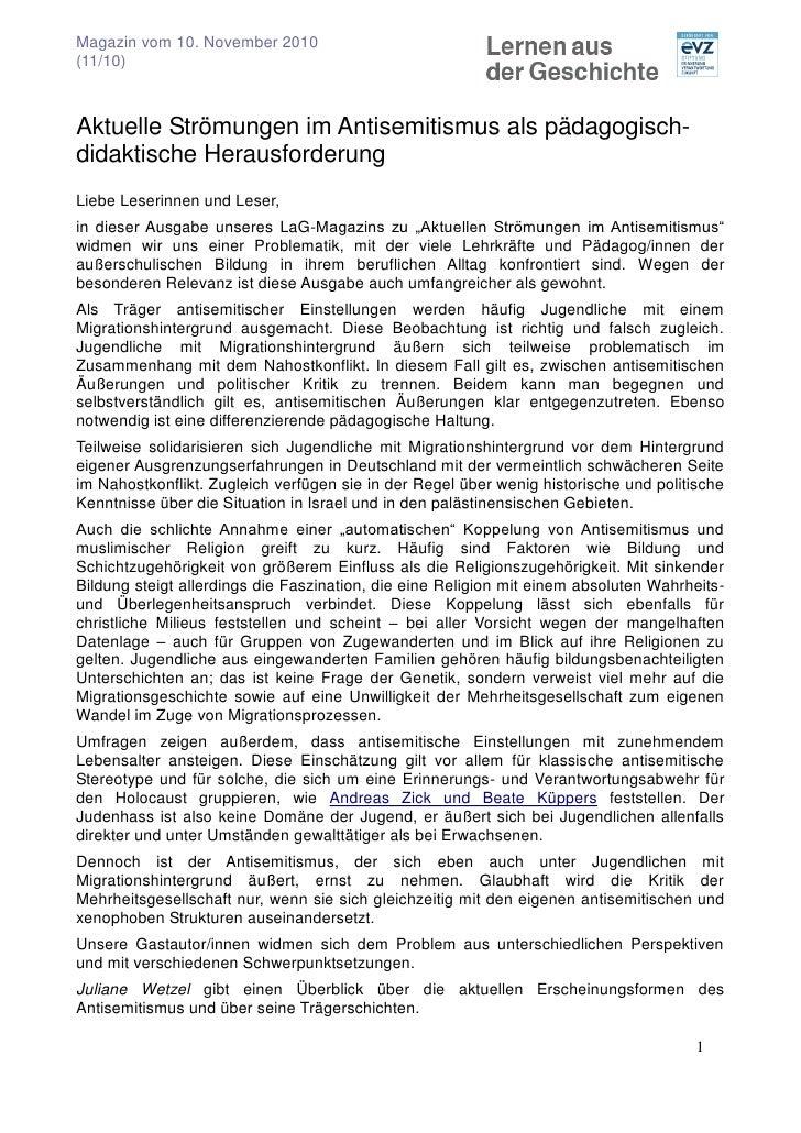 Magazin vom 10. November 2010(11/10)Aktuelle Strömungen im Antisemitismus als pädagogisch-didaktische HerausforderungLiebe...
