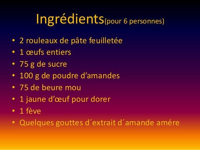 Ingrédients(pour 6 personnes) • • • • • • • •  2 rouleaux de pâte feuilletée 1 œufs entiers 75 g de sucre 100 g de poudre ...