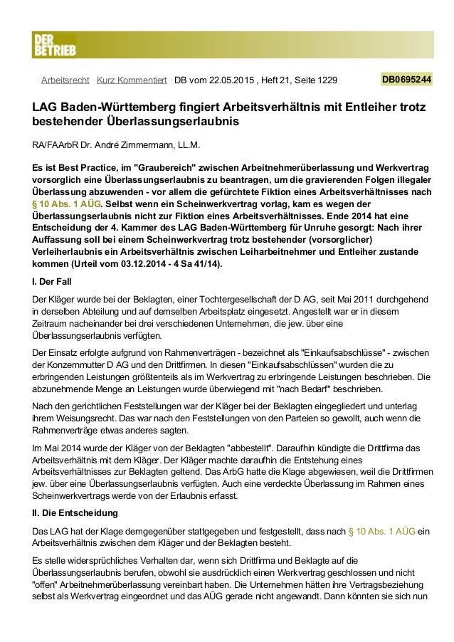 Arbeitsrecht Kurz Kommentiert DB vom 22.05.2015 , Heft 21, Seite 1229 DB0695244 LAG Baden-Württemberg fingiert Arbeitsverh...