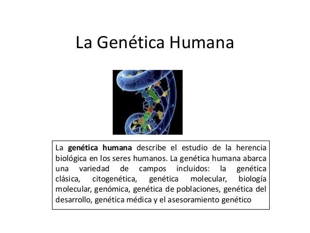 La Genética HumanaLa genética humana describe el estudio de la herenciabiológica en los seres humanos. La genética humana ...