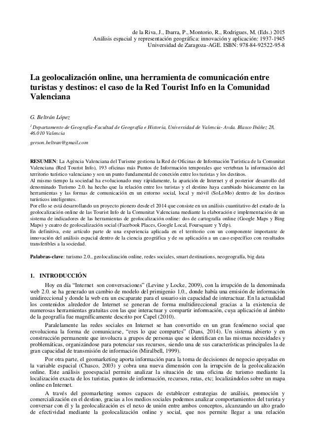 La geolocalización online, una herramienta de comunicación entre turistas y destinos: el caso de la Red Tourist Info en la...