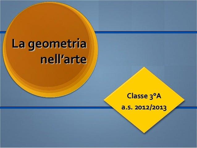 La geometriaLa geometria nell'artenell'arte Classe 3°AClasse 3°A a.s. 2012/2013a.s. 2012/2013