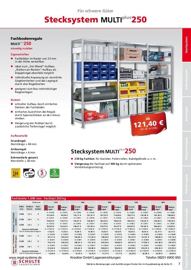 Für schwere Güter                                                       Stecksystem MULTIplus250 Fachbodenregale          ...
