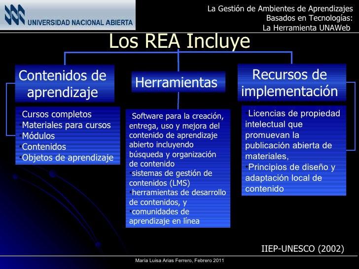 Los REA Incluye Contenidos de  aprendizaje  Herramientas  Recursos de  implementación  <ul><li>Cursos completos </li></ul>...