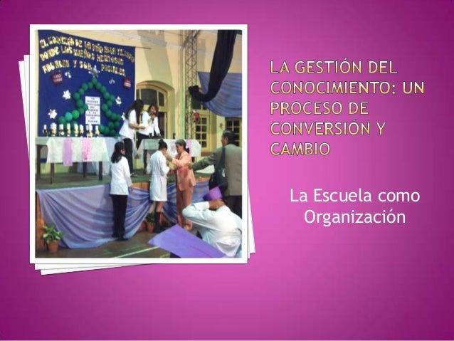 La Escuela comoOrganización
