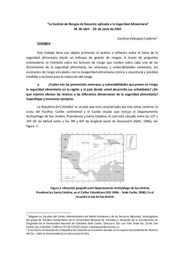 """""""La Gestión de Riesgos de Desastre aplicada a la Seguridad Alimentaria"""" 26 de abril - 20 de junio de 2010 Carolina Velásqu..."""