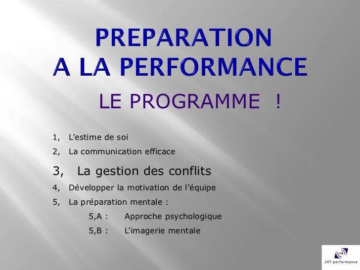 LE PROGRAMME !1,   L'estime de soi2,   La communication efficace3,     La gestion des conflits4,   Développer la motivatio...