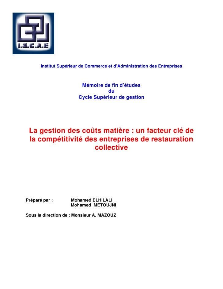 Institut Supérieur de Commerce et d'Administration des Entreprises                         Mémoire de fin d'études        ...