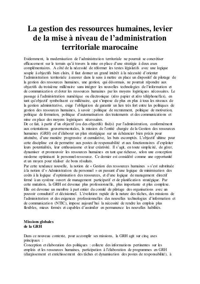 La gestion des ressources humaines, levier  de la mise à niveau de l'administration  territoriale marocaine  Evidemment, l...
