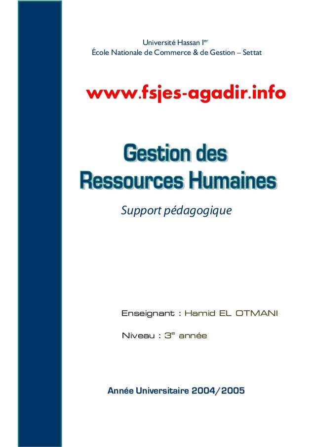 Université Hassan Ier École Nationale de Commerce & de Gestion – Settat Support pédagogique EEnnsseeiiggnnaanntt :: HHaamm...