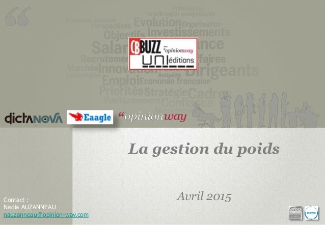 La gestion du poids Avril 2015Contact : Nadia AUZANNEAU nauzanneau@opinion-way.com
