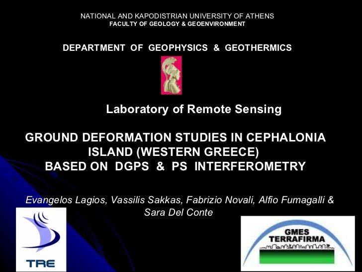 NATIONAL AND KAPODISTRIAN UNIVERSITY OF ATHENS FACULTY OF GEOLOGY & GEOENVIRONMENT DEPARTMENT  OF  GEOPHYSICS  &  GEOTHERM...