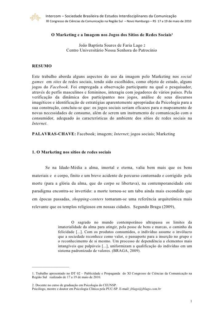 Intercom – Sociedade Brasileira de Estudos Interdisciplinares da Comunicação          XI Congresso de Ciências da Comunica...