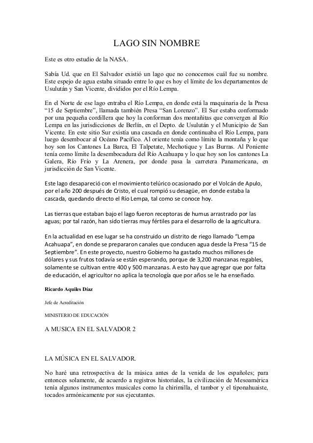 LAGO SIN NOMBRE Este es otro estudio de la NASA. Sabía Ud. que en El Salvador existió un lago que no conocemos cuál fue su...