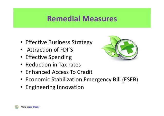NICE: Lagos Chapter Remedial Measures • Effective Business Strategy • Attraction of FDI'S • Effective Spending • Reduction...