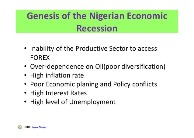 NICE: Lagos Chapter Genesis of the Nigerian Economic Recession • Inability of the Productive Sector to access FOREX • Over...