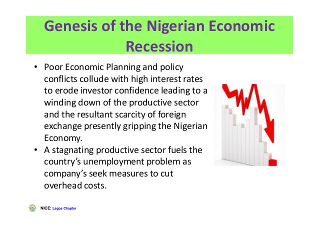 NICE: Lagos Chapter Genesis of the Nigerian Economic Recession • Poor Economic Planning and policy conflicts collude with ...