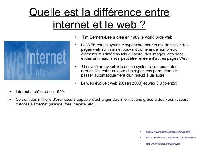 Quelle est la différence entre internet et le web ? ●  ●  ●  ●  ●  ●  Tim Berners-Lee a créé en 1989 le world wide web Le ...