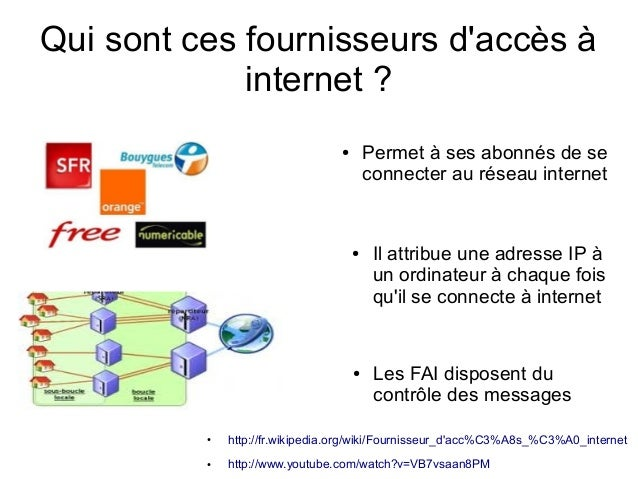 Qui sont ces fournisseurs d'accès à internet ? Permet à ses abonnés de se connecter au réseau internet  ●  ●  ●  Il attrib...