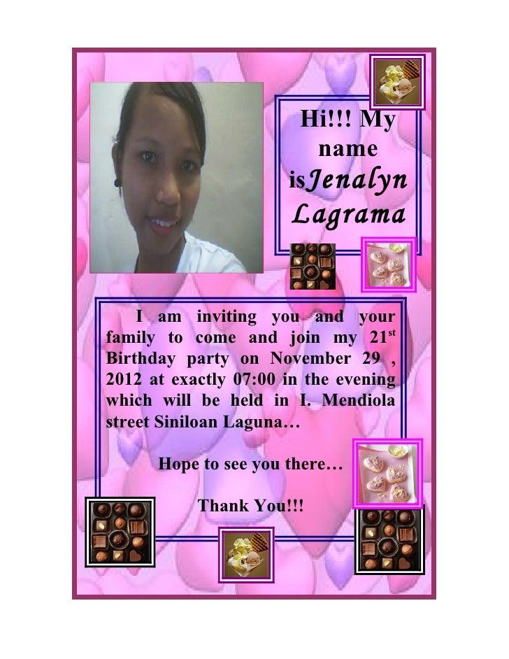 Hi!!! My                          name                       isJenalyn                       Lagrama       I am inviting y...