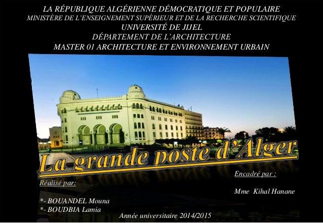 LA RÉPUBLIQUE ALGÉRIENNE DÉMOCRATIQUE ET POPULAIRE MINISTÈRE DE L'ENSEIGNEMENT SUPÉRIEUR ET DE LA RECHERCHE SCIENTIFIQUE U...