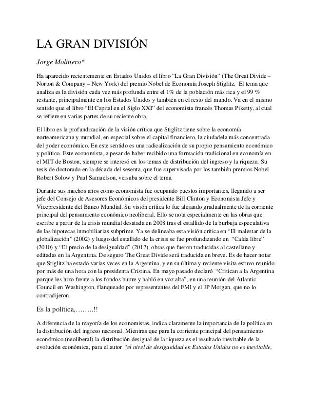 """LA GRAN DIVISIÓN Jorge Molinero* Ha aparecido recientemente en Estados Unidos el libro """"La Gran División"""" (The Great Divid..."""