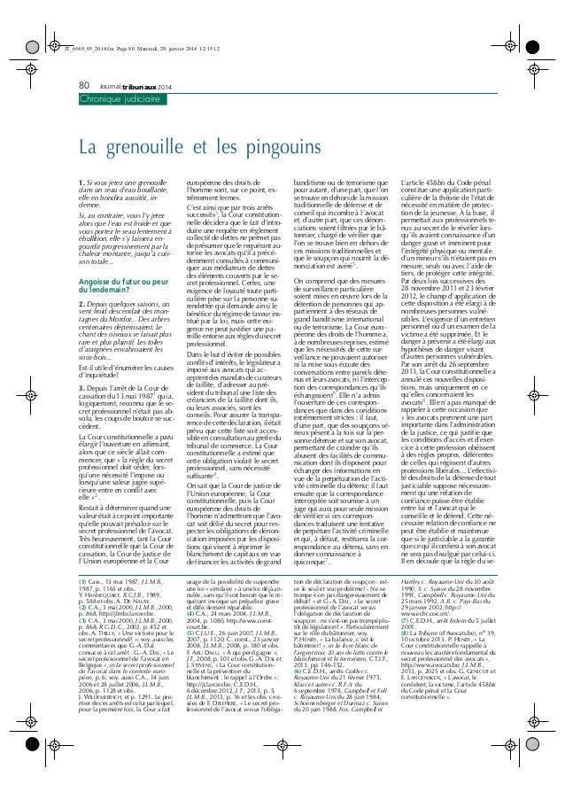 JT_6549_05_2014.fm Page 80 Mercredi, 29. janvier 2014 12:15 12  des  80 Journal tribunaux 2014 Chronique judiciaire  La gr...