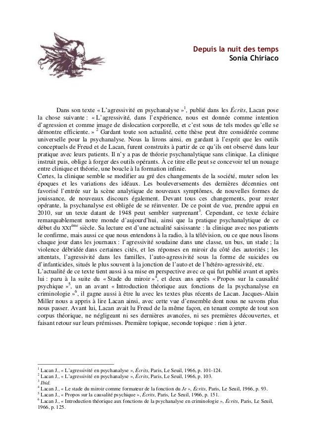 Depuis la nuit des temps Sonia Chiriaco Dans son texte « L'agressivité en psychanalyse »1 , publié dans les Écrits, Lacan ...