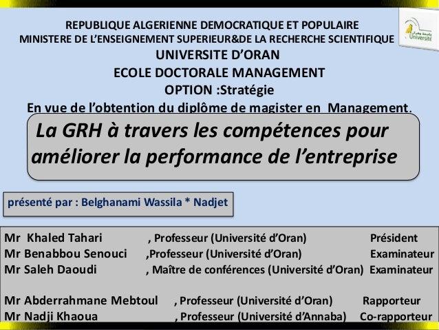 REPUBLIQUE ALGERIENNE DEMOCRATIQUE ET POPULAIRE MINISTERE DE L'ENSEIGNEMENT SUPERIEUR&DE LA RECHERCHE SCIENTIFIQUE UNIVERS...