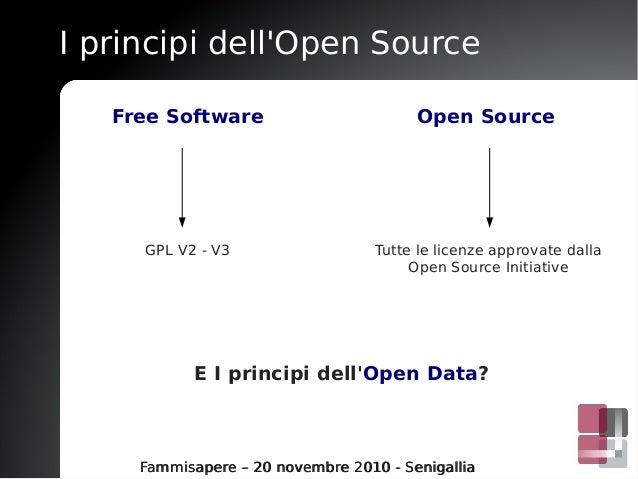 I principi dell'Open Source Fammisapere – 20 novembre 2010 - SenigalliaFammisapere – 20 novembre 2010 - Senigallia Free So...